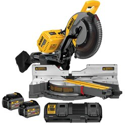 DEWALT - 12305mm 120V MAX Double Bevel Sliding Compound Miter Saw Kit with CUTLINETM Blade Positioning System includes 2 batteries 1 dual port fast charger - DHS790T2