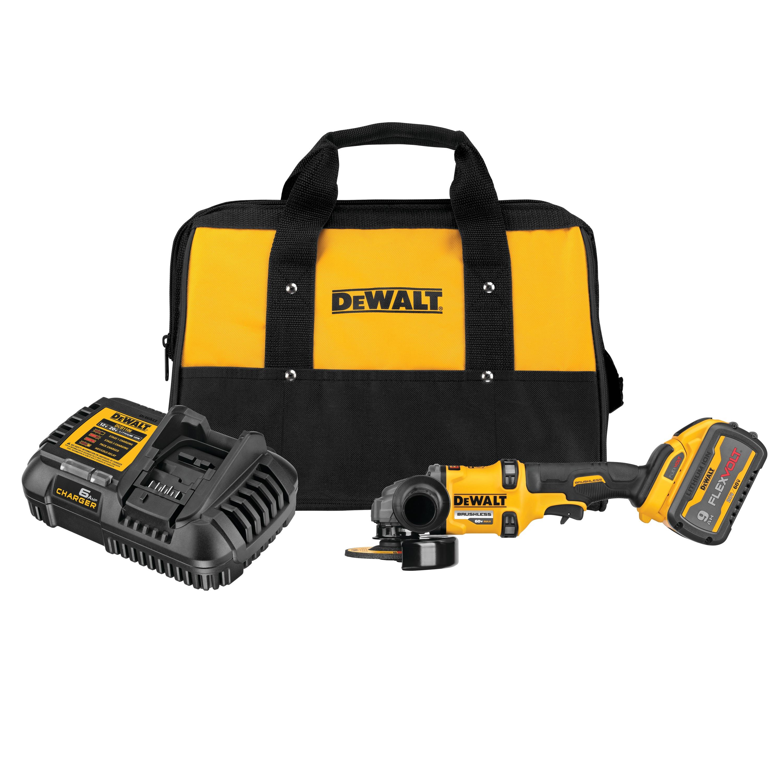 6 in Cordless Grinder with Kickback Brake Kit DEWALT DCG418X2 FLEXVOLT/® 60V MAX* Brushless 4-1//2 in