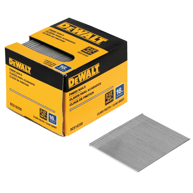 DeWalt Galvanised Straight Finish Nails 16ga x 64mm Pack of