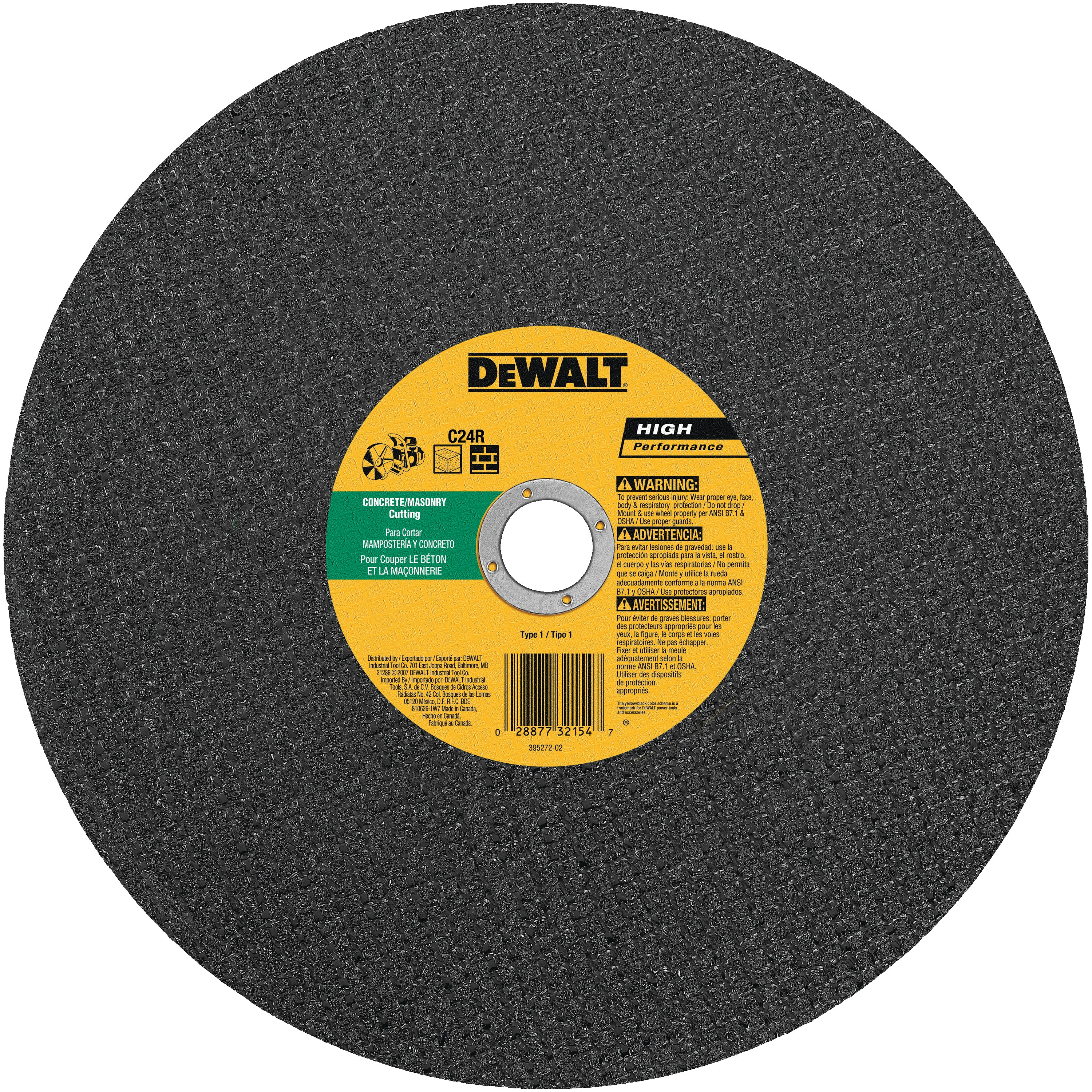 "DeWalt DW8026 12/"" x 1//8/"" x 1/"" Concrete//Masonry High Speed Cut-Off Wheel"