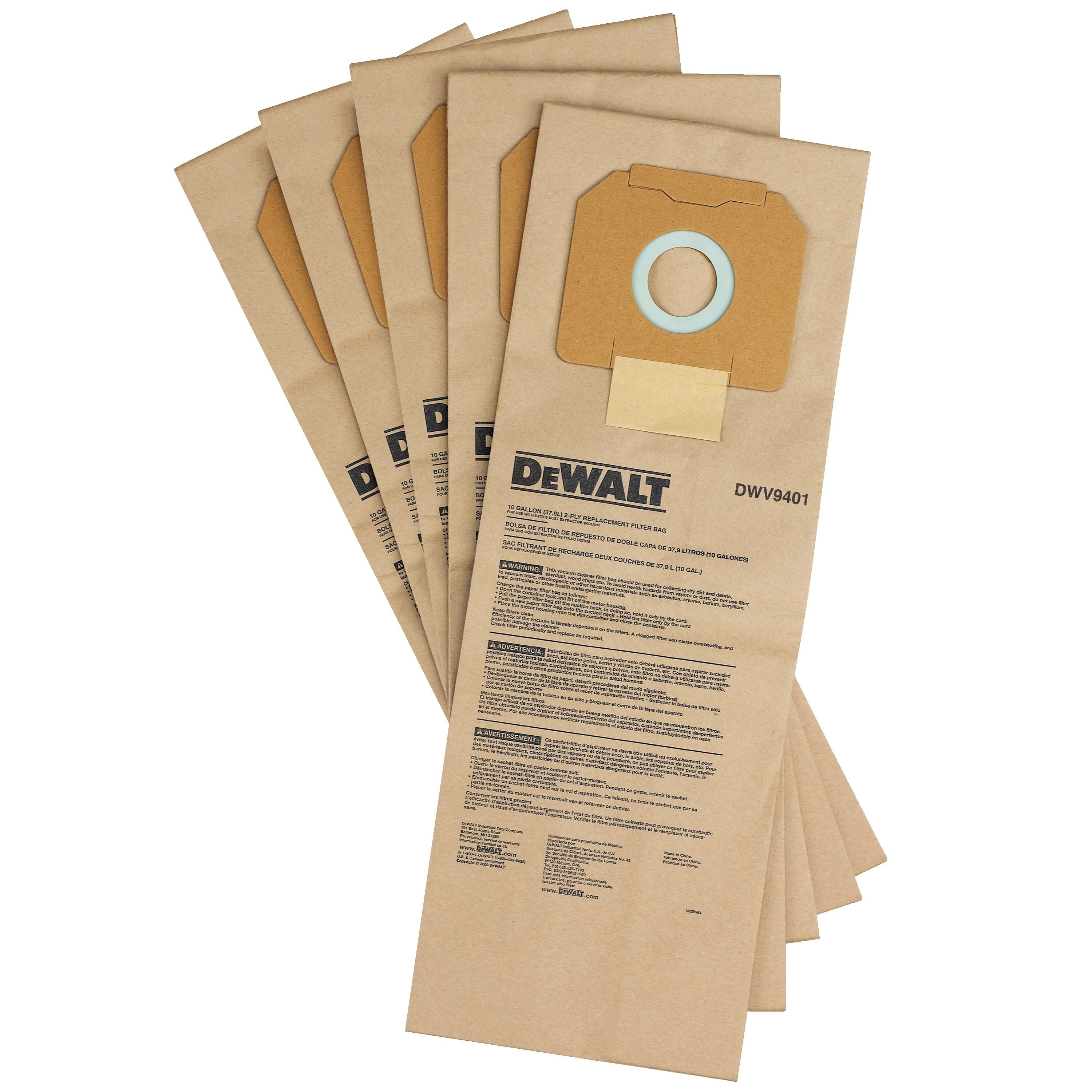 DEWALT - Paper Bag 5 Pack for DEWALT Dust Extractors - DWV9401